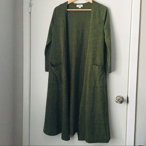 Lularoe Green Sarah Long Cardigan Duster, Small